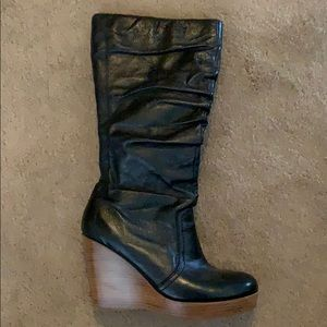 Steve Madden black leather wedge boots